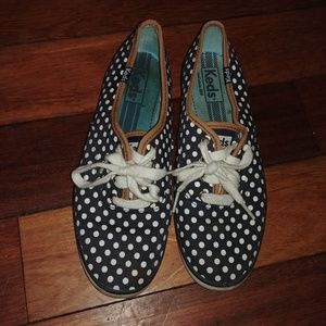 Keds polka dot navy white cognac sz 6 shoes